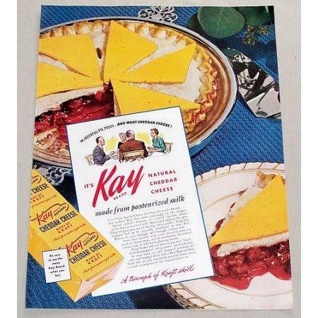 1949 Kay Natural Chedder Cheese Color Print Ad
