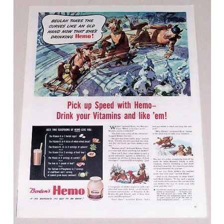 1944 Borden's Hemo Drink Elsie Cow Art Color Print Ad - Pick Up Speed
