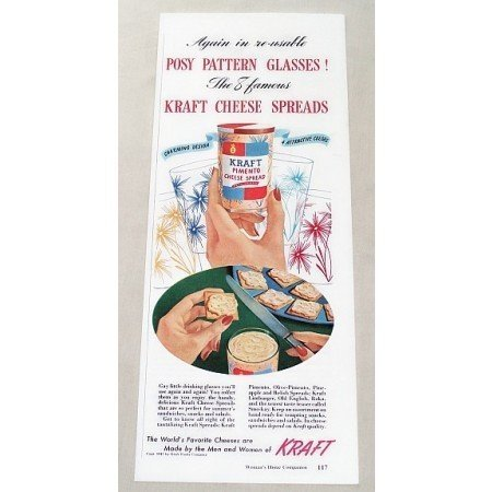 1947 Kraft Pimento Cheese Spread Posy Pattern Glass Color Print Ad