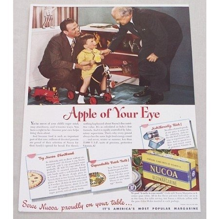 1947 Nucoa Oleomargarine Color Print Ad - Apple Of Your Eye