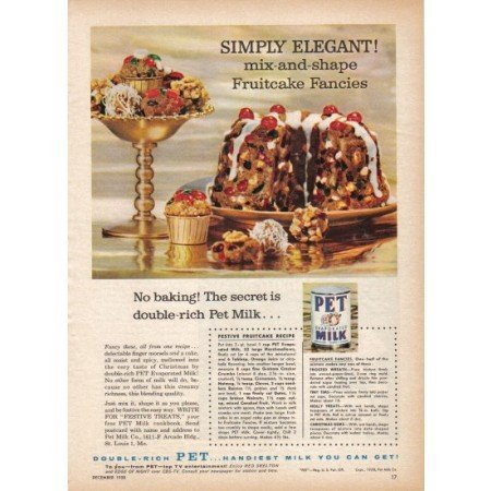 1958 Pet Evaporated Milk Fruitcake Recipe Color Print Ad