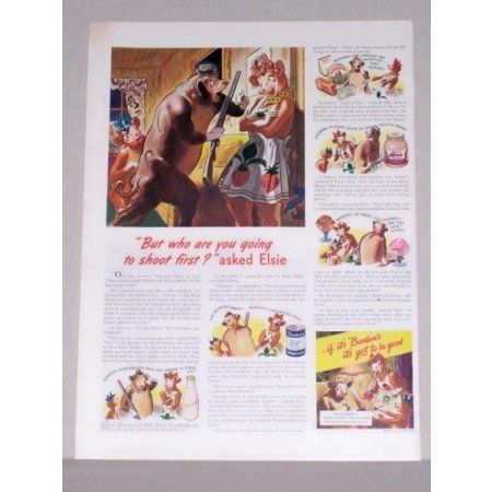1944 Borden's Milk Elsie The Cow Art Color Print Ad