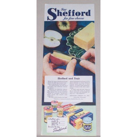 1945 Shefford Fine Cheese Color Print Ad - Cheese And Apples