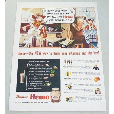 1943 Borden's Hemo Vitamin Drink Elsie Cow Art Color Print Ad - Some Like It Hot