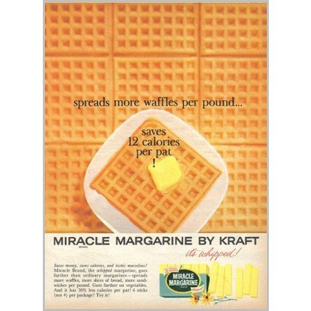 1959 Kraft Miracle Margarine Waffles Color Print Ad - It's Whipped