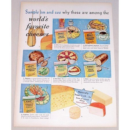 1958 Kraft Assorted Cheese Color Print Ad - World's Favorite