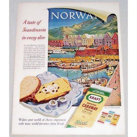 1961 Kraft Caraway Cheese Norway Art Color Print Ad