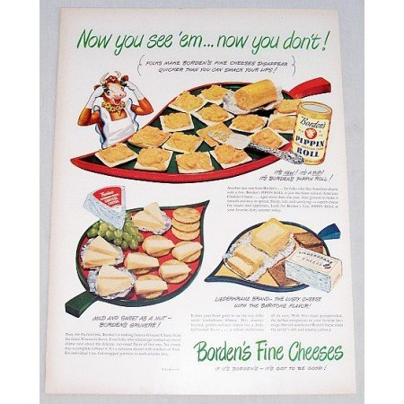 1948 Borden's Pippin Roll American Cheese Color Print Ad