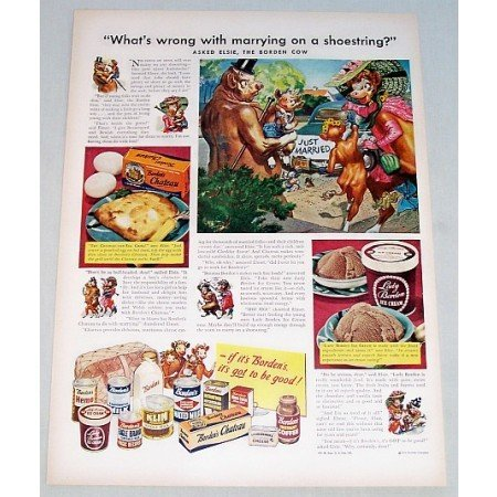 1948 Borden's Products Elsie Cow Art Color Print Ad - Marrying On A Shoestring?