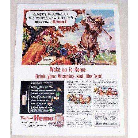1944 Bordon's Hemo Vitamin Drink Elsie Golf Art Color Print Ad - Burning Up Course