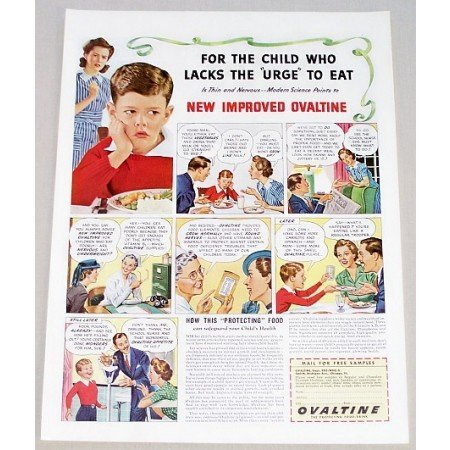 1942 Ovaltine Food Drink Color Print Ad - For The Child