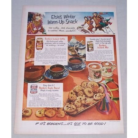 1950 Borden's Products Color Print Ad - Elsie's Winter Warm Up Snack