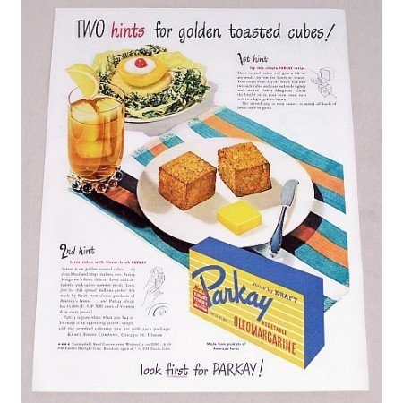 1947 Parkay Oleomargarine Toasted Cubes Recipe Color Print Ad