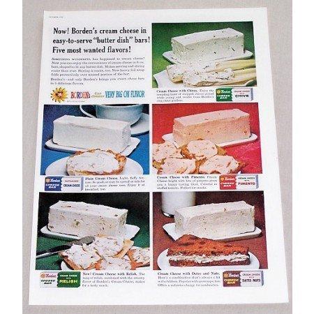 1960 Borden's Cream Cheese Butter Dish Bars Color Print Ad