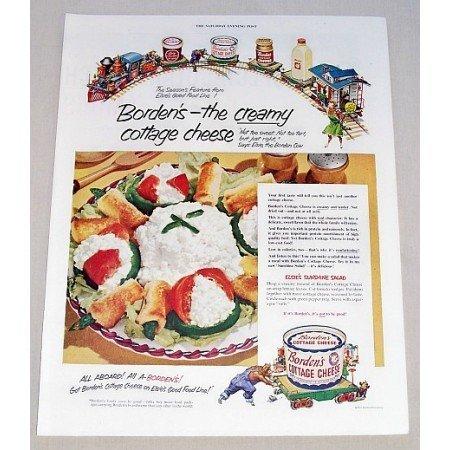 1952 Borden's Cottage Cheese Sunshine Salad Recipe Color Print Ad