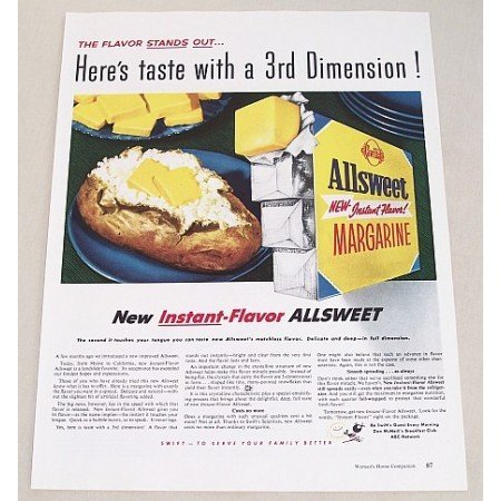 1954 Allsweet Margarine Color Print Ad - 3rd Dimension