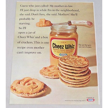 1968 Kraft Cheez Whiz Cheese Spread Color Print Ad