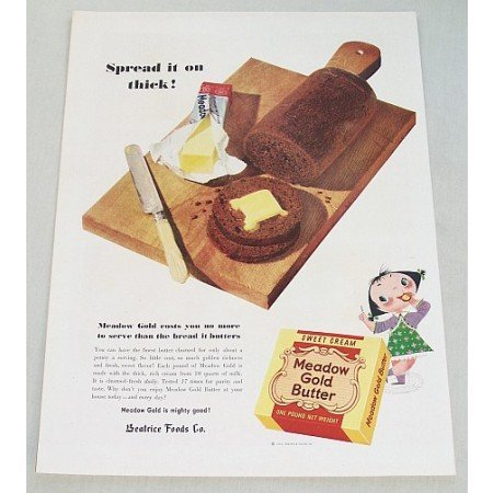 1953 Meadow Gold Butter Color Print Ad - Spread It On Thick!