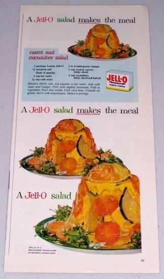 1954 Jello Gelatin Dessert Vintage Color Print Ad Carrot Cucumber Salad Recipe