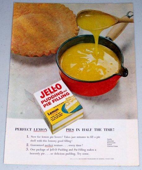 1954 Jello Pudding Pie Filling Lemon Pie Color Food Print Ad