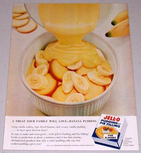 1955 Jello Pudding Pie Filling Banana Pudding Color Print Ad