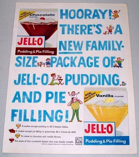 1960 Jello Family Size Pudding Pie Filling Color Print Ad