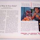 1957 Fresh Florida Oranges Color Print Ad Golf Celebrity Doug Ford