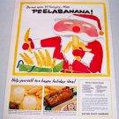 1957 United Fruit Company Bananas Santa Claus Christmas Art Color Print Ad PEELABANANA
