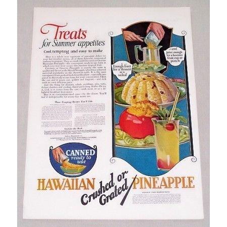 1923 Hawaiian Pineapple Color Print Ad - 3 Pineapple Recipe