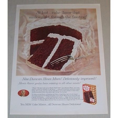 1958 Duncan Hines Devil's Food Cake Mix Color Print Ad