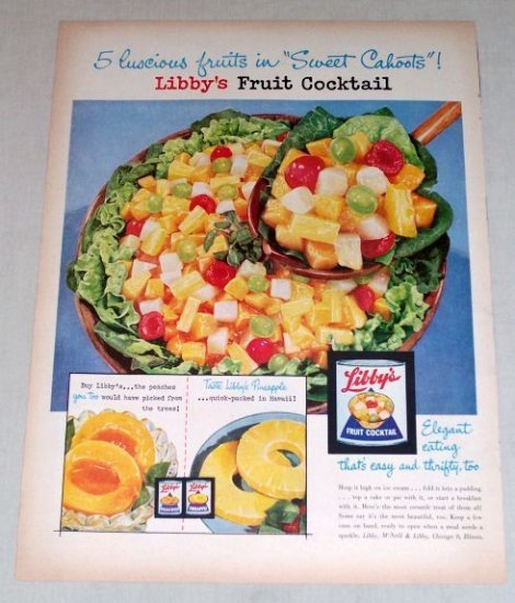 1954 Libby's Fruit Cocktail Color Print Ad - Sweet Cahoots