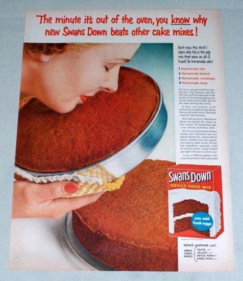 1954 Swans Down Devils Food Cake Mix Color Print Ad