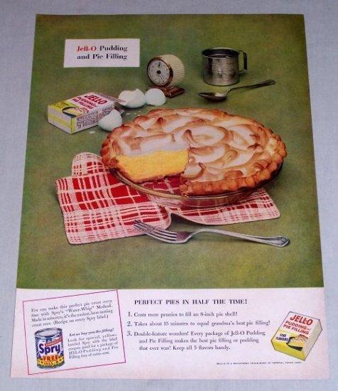 1953 Jello Pudding Pie Filling Color Print Ad - Perfect Pies