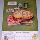 1953 Jello Pudding Pie Filling Color Print Ad - Perfect Pies