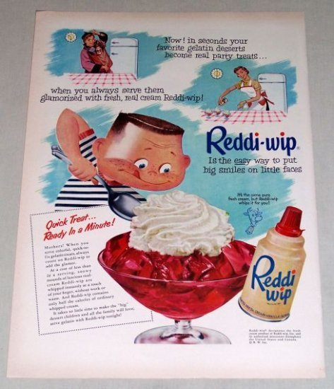 1953 Reddi Wip Dessert Topping Color Art Print Ad