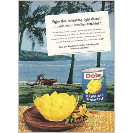 1959 Dole Hawaiian Pineapple Hanauma Bay Oahu Color Print Ad