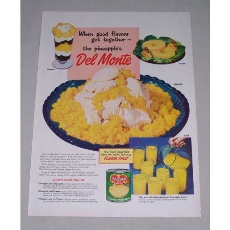 1949 Del Monte Crushed Pineapple Color Print Ad