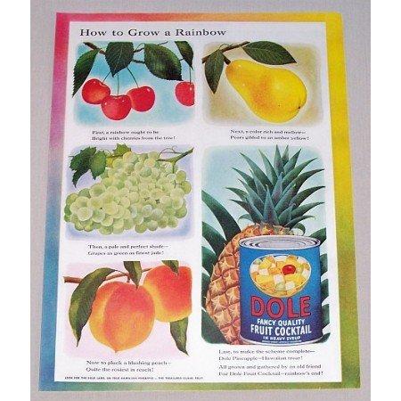 1952 Dole Fruit Cocktail Color Art Print Ad - Grow A Rainbow
