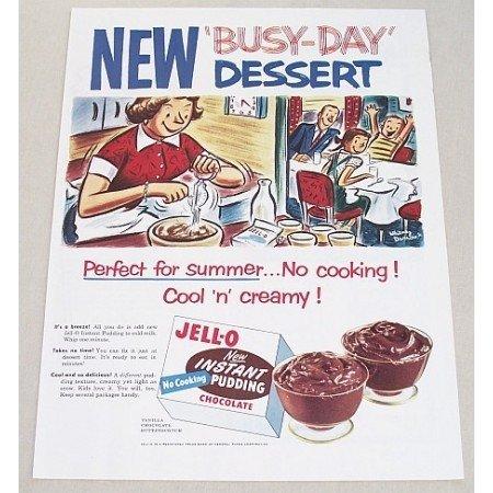 1954 Jello Chocolate Instant Pudding Color Art Print Ad