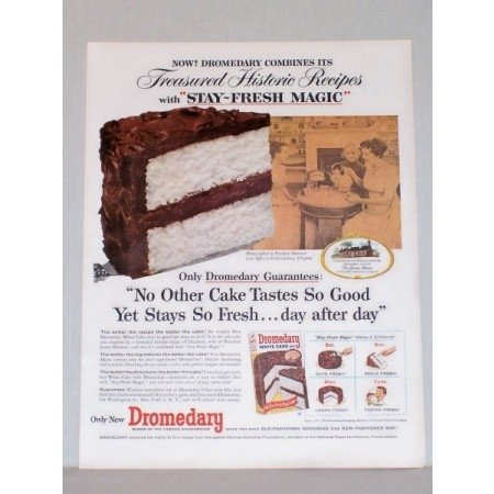 1957 Dromedary White Cake Mix President Monroe Law Office Color Print Ad