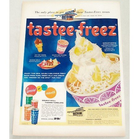 1956 Tastee Freez Treats Sundaes Shakes Color Print Ad