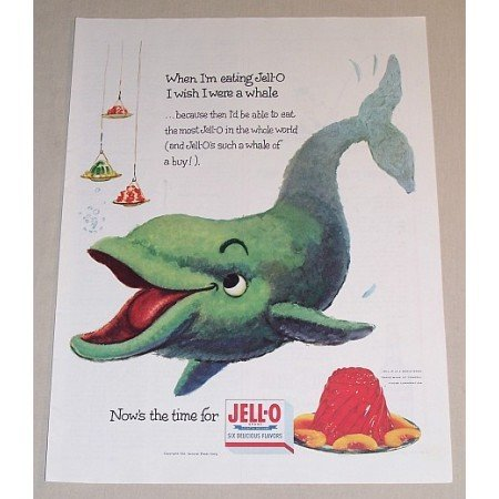 1954 Jello Gelatin Color Art Print Ad - I Wish I Were A Whale