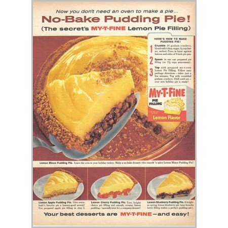 1959 My-T-Fine Pie Filling Pudding Pie Recipe Color Print Ad