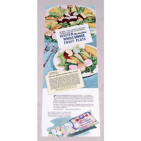 1949 Puritan Marshmallows Fruit Plate Recipe Color Print Ad