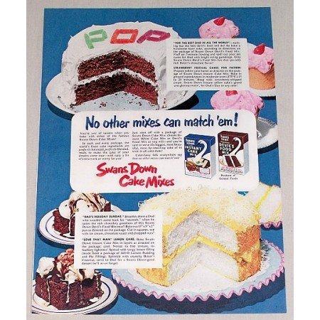 1952 Swans Down Cake Mixes Color Print Ad - No Mixes Can Match'em!