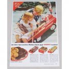1954 Nabisco Cookies Fire Truck Pedal Car Color Print Ad