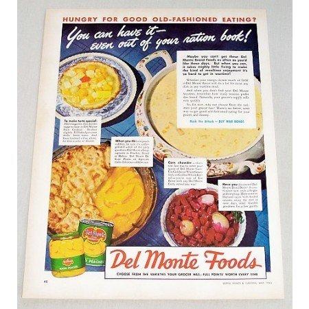 1944 Del Monte Foods Sliced Peaches Color Print Ad