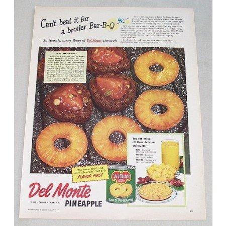 1949 Del Monte Pineapple Bar-B-Burgers Recipe Color Print Ad