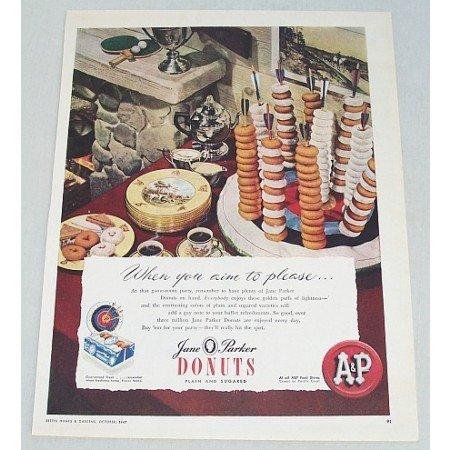 1947 AP Jane Parker Donuts Color Print Ad - Aim To Please
