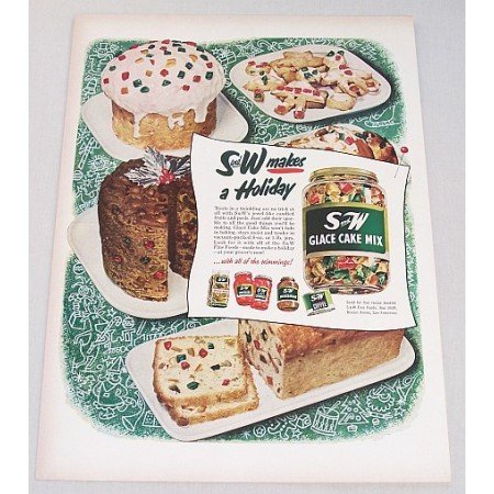 1952 S and W Glace Holiday Fruit Cake Mix Color Print Ad